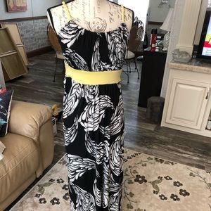 Cato black, white and yellow braided strap maxi S